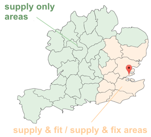 map showing suppply and fit areas; Essex, Hertfordshire, London, Kent, Surrey, Sussex, Suffolk and Cambridgeshire and additional supply only areas  Shropshire, Stafordshire, Derbyshire, Nottinghamshire, Lincolnshire, Herefordshire, Worcestershire, Warwickshire, Leicestershire, Northamptonshire, Norfolk, Gloucestershire, Oxfordshire, Buckinghamshire, Bedfordshire, Devon, Somerset, Dorset, Wiltshire, Hampshire, Berkshire
